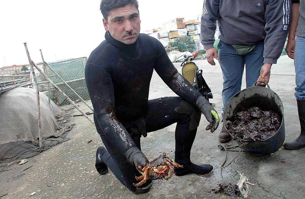 13/12/02 <br>La marea negra afectó a la superficie, pero también al fondo marino (muelle de Curuxeiras, en Ferrol) <br>José Pardo