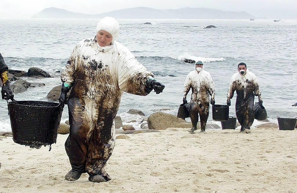 04/12/2002 <br>Playa de San Vicente, en O Grove. Sin las cadenas humanas no se entiende el éxito de la limpieza de las playas <br>Martina Miser