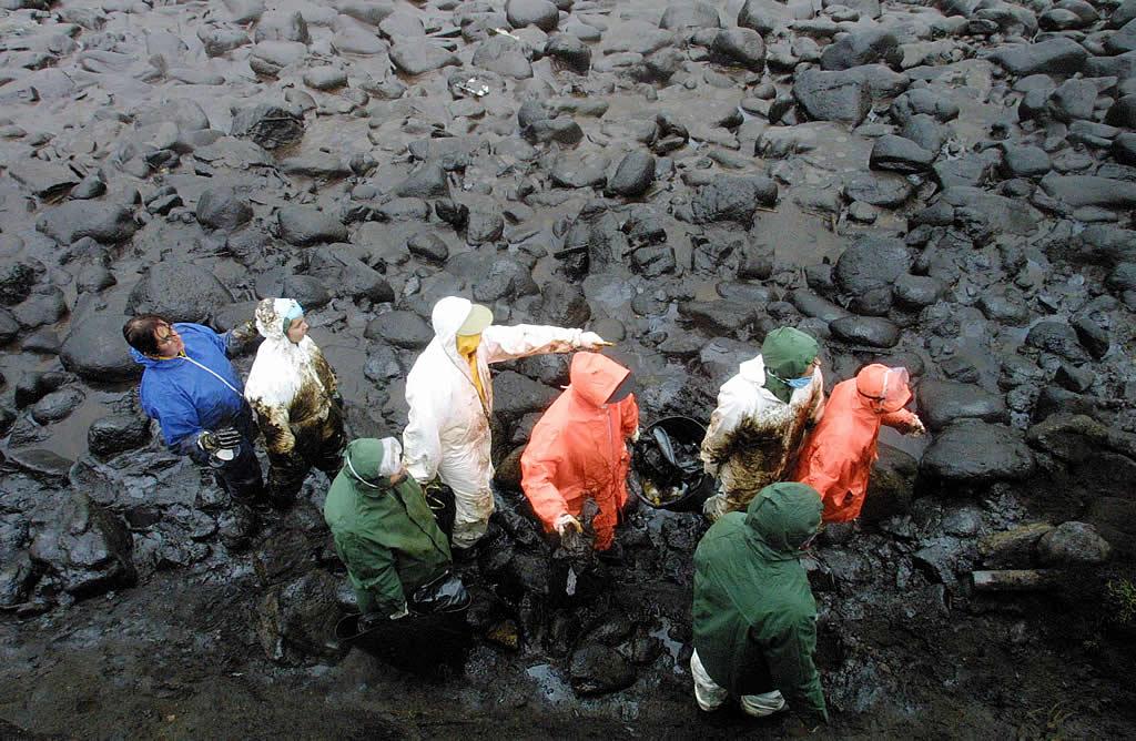 18/01/2003 <br> El colorido de las prendas de abrigo de los voluntarios contrasta con el fondo negro que dibuja el fuel en el coído de Cuño (Muxía)  <br>José Manuel Casal