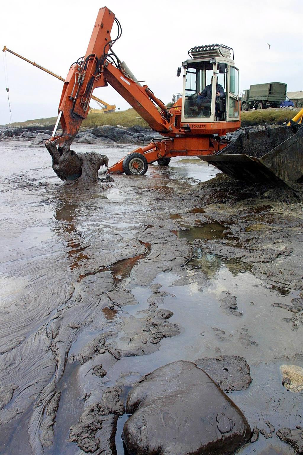 20/12/2002 <br>Una araña extrae fuel de la playa de Ximprón en Lira  <br>Simón Balvís