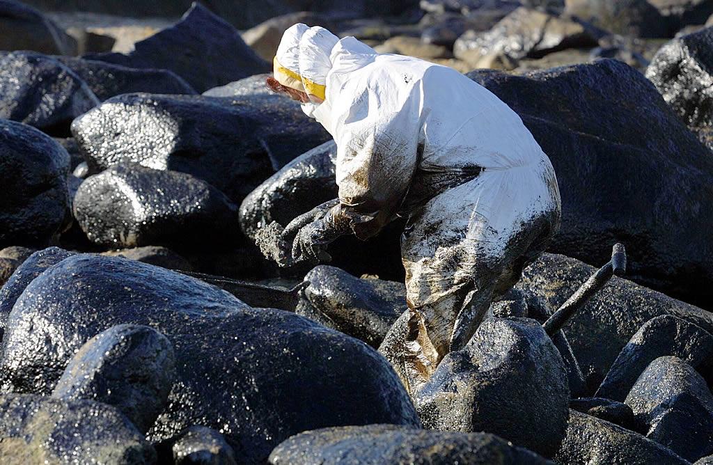 10/01/2003 <br>Voluntarios se esfuerzan en limpiar una zona de rocas en Basoñas, en Porto do Son  <br>Simón Balvís