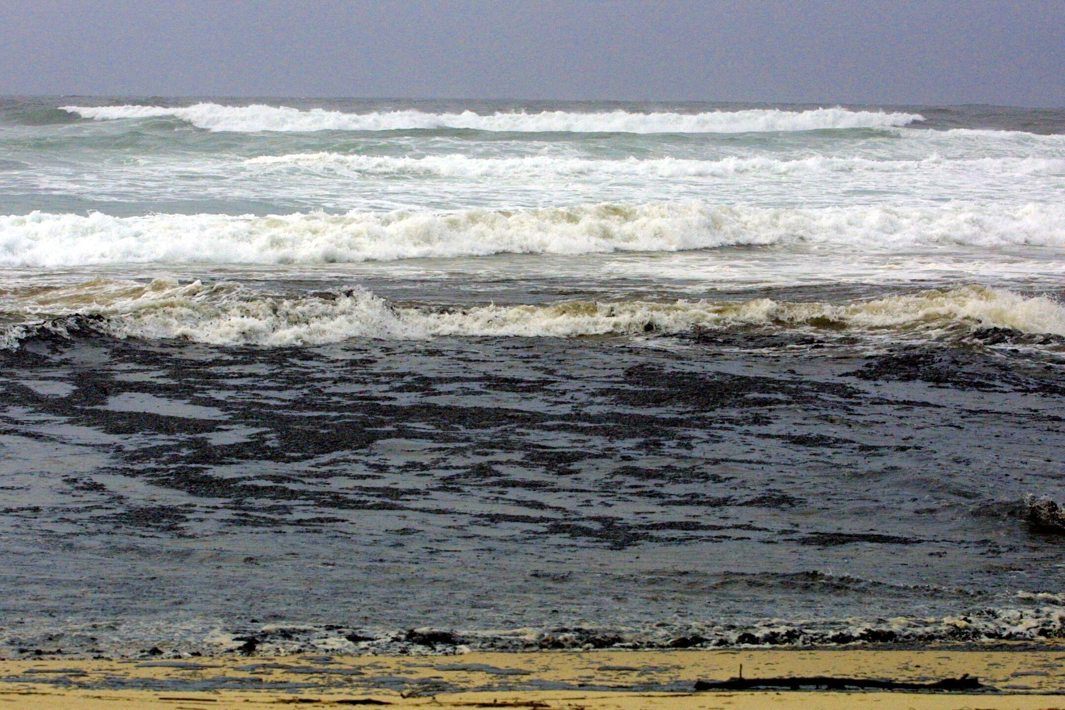 El arenal de Río Sieira, anegado de fuel. <br><b>Carmela Queijeiro</b>