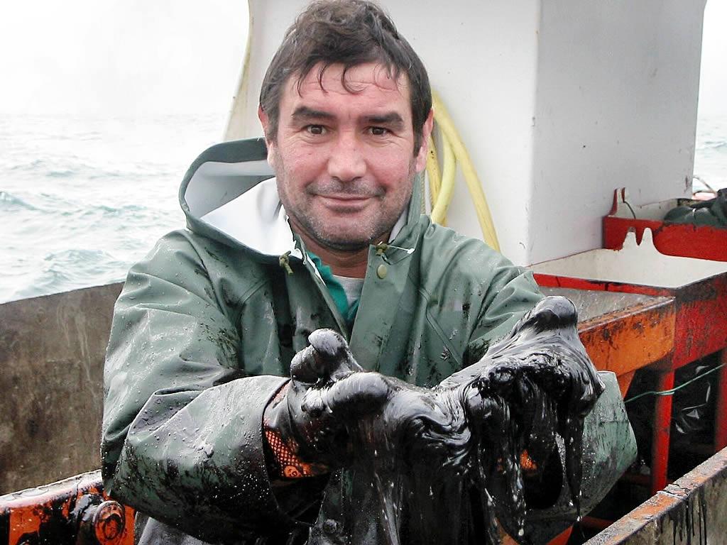 Un marinero muestra las manos con las que anteriormente había extraído chapapote del mar <br>Vítor Mejuto