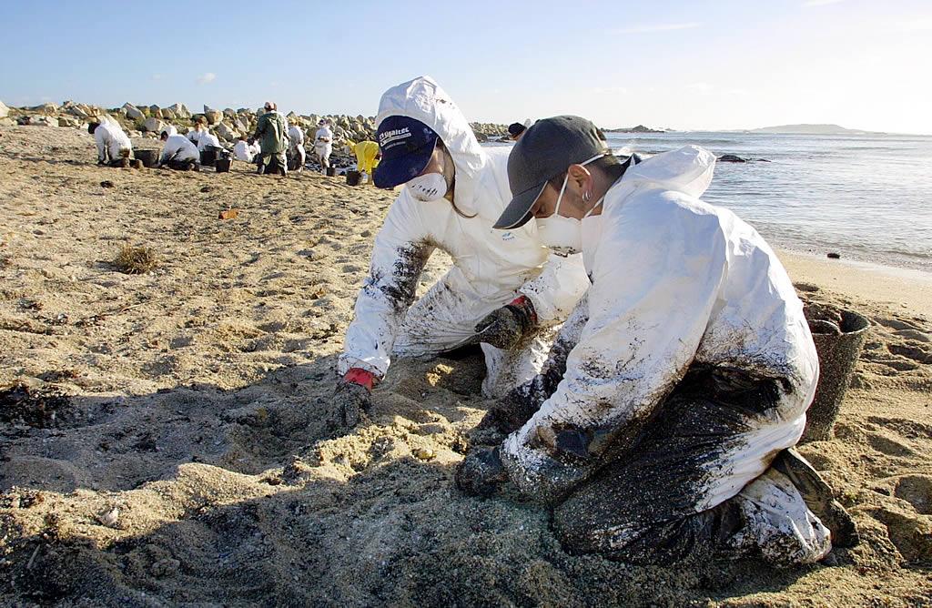 Limpieza en una playa de Aguiño (Ribeira) <br>Simón Balvís