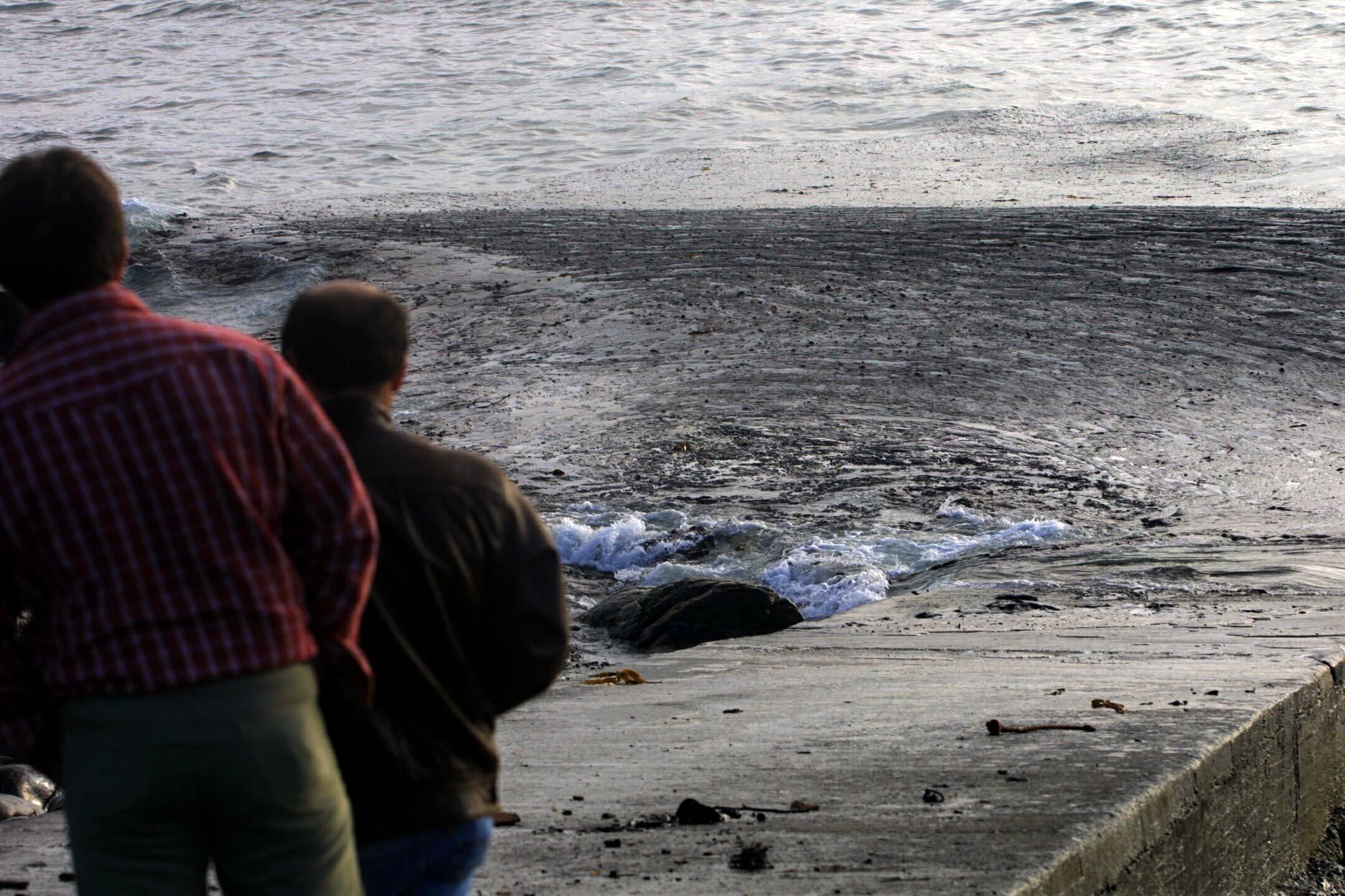 El fuel mezclado con el oleaje golpea el puerto de Touriñán (Muxía).<br><b>José Manuel Casal</b>