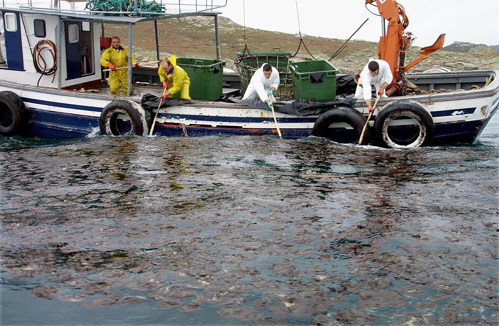 Un barco intenta limpiar una mancha de fuel en los Baixos de Chans, en Corme. <br><b>José Manuel Casal</b>