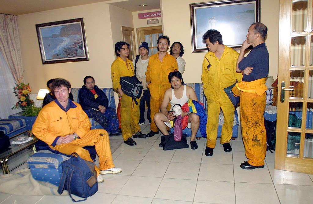 Los marineros fueron evacuados a tierra firme <br>César Quian