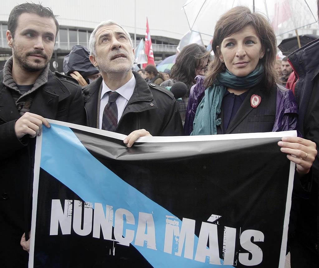 Alberto Garzón, Gaspar Llamazares y Yolanda Díaz, de IU.<br><b>Gustavo Rivas</b>