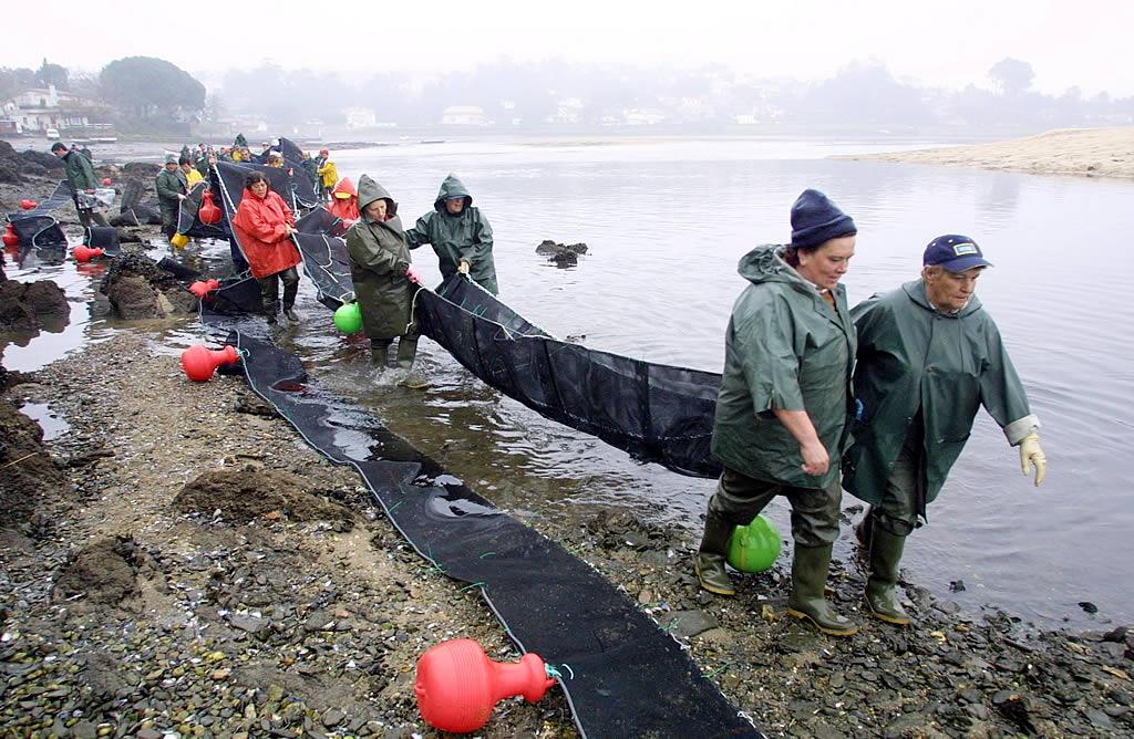 Mariscadoras de Baiona colocan una barrera anticontaminante <br>M. Moralejo